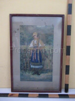 An image of a girl in a glazed poster costume