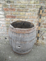 Barrel of wooden forged hoops