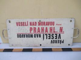 information sign: Veselí nad Moravou - Prague main railway station