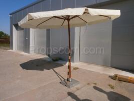 big wooden beige parasol