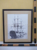 An image of a historic sailboat with sailed sails