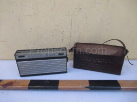 Portable radio with leather case