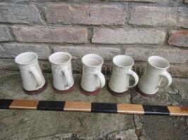 White-brown ceramic mugs