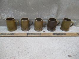 Green-brown ceramic mugs