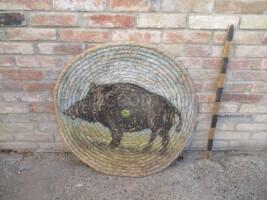 painted medieval target - boar