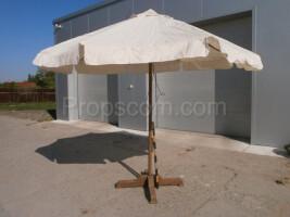 large wooden beige parasol