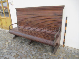 Wooden bench with high back