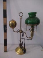 Green brass glass lamp