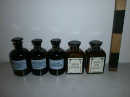 Different bottles, dark glass vials