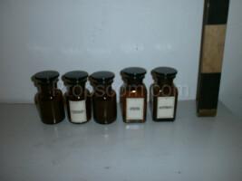 Bottles with ground glass wide-necked dark glass